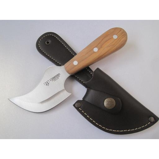 141L Cudeman Olive Wood Half Moon Skinning Knife