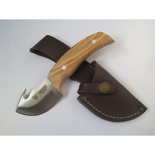 137L Cudeman Olive Wood Guthook Skinning Knife
