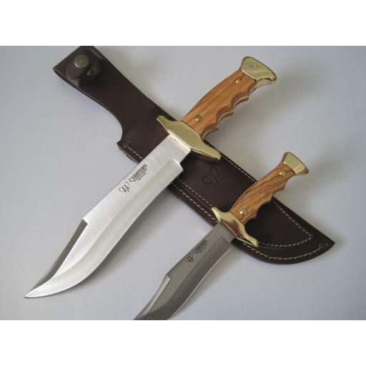 201L Cudeman Olive Wood Piggyback Bowie Knife Set