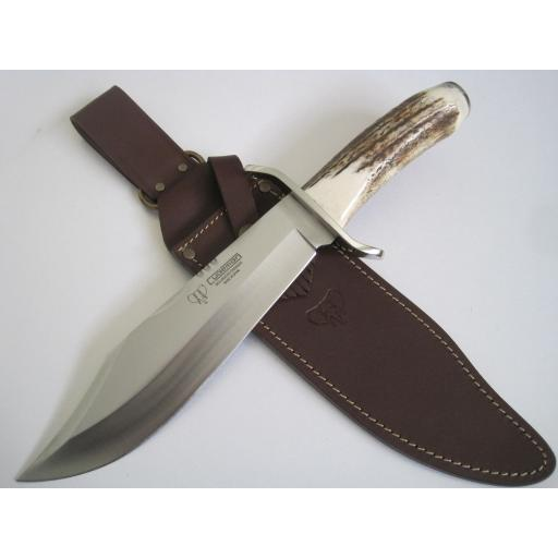 294C Cudeman Huge 14½ Inch Stag Bowie Knife With Filework