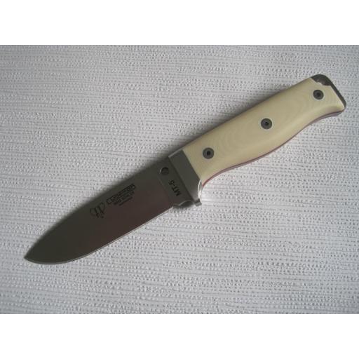 120B MT5 White Micarta Survival Knife Bohler N695